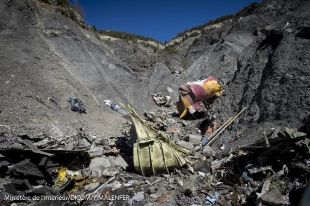 A general view of debris, seen in this picture made available to the media by the French Interior Ministry, from wreckage of a Germanwings Airbus A320, near Seyne-les-Alpes