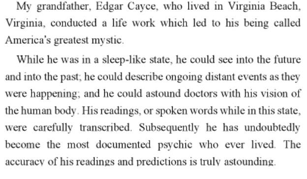 Edgar Cayce abilities copy